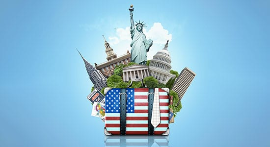 statute de la liberté et valise