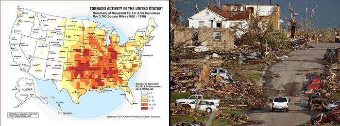 carte de la tornado alley et dégâts à Joplin Missouri