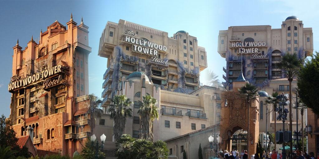 les 3 Hollywood Tower Hotel dans les différents parcs Disney