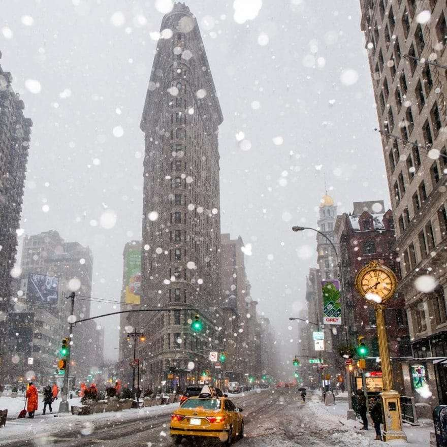 Flat Iron Building sous la neige Matt Chimera