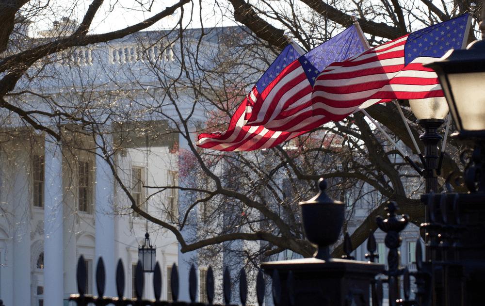 Drapeau Américain lors d'une visite de la Maison Blanche à Washington D.C