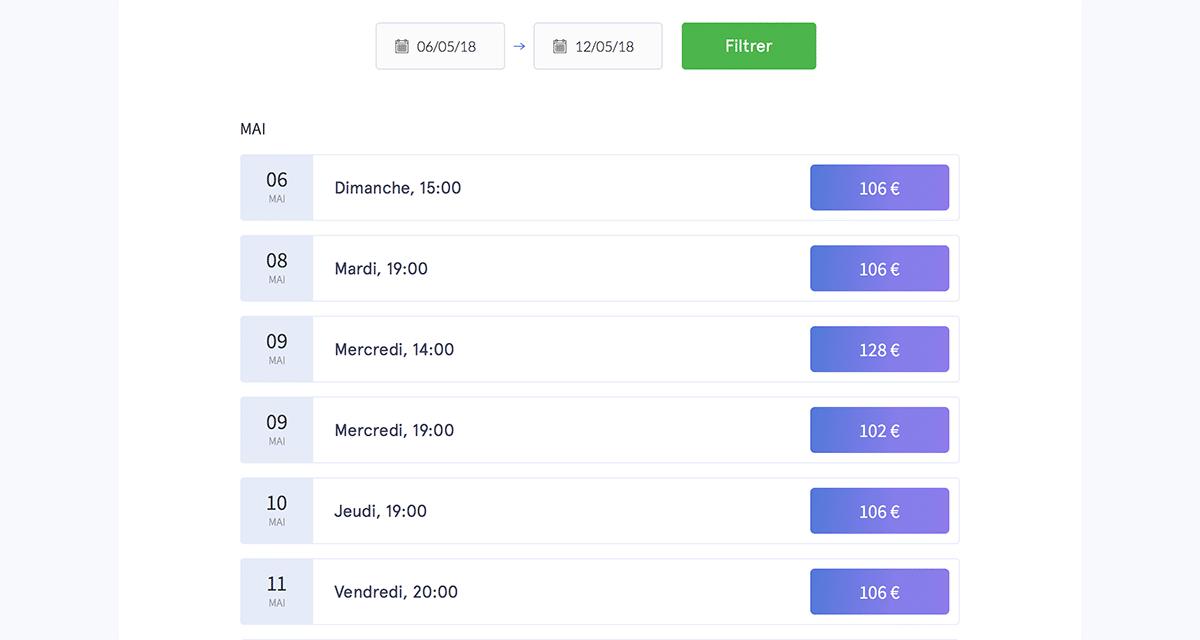 Visualisation des prix sur HeyTickets