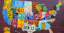 Carte des USA en plaque d'immatriculation