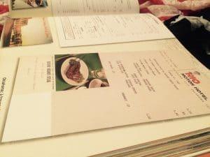 livre mythique route 66 menu de restaurant