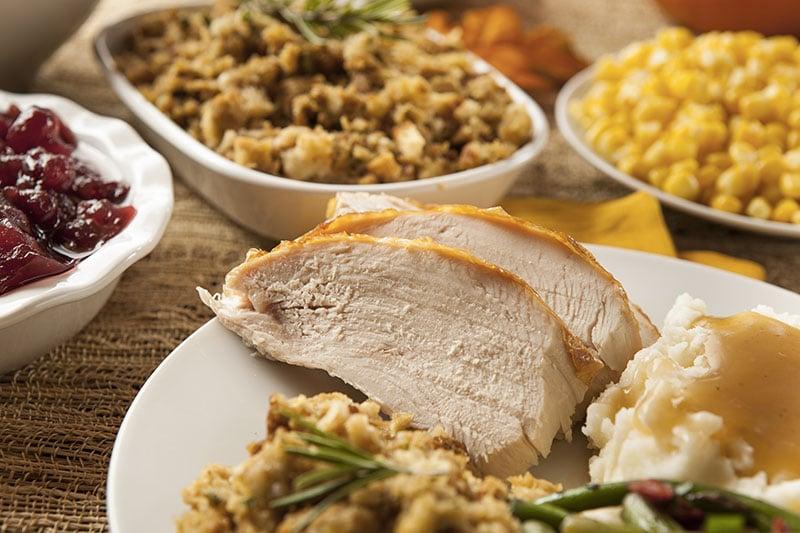 dinde de thanksgiving découpée