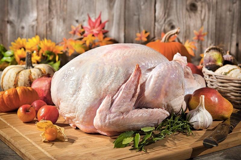dinde de thanksgiving avant la cuisson
