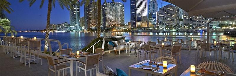Vue de Miami depuis le restaurant La Mar