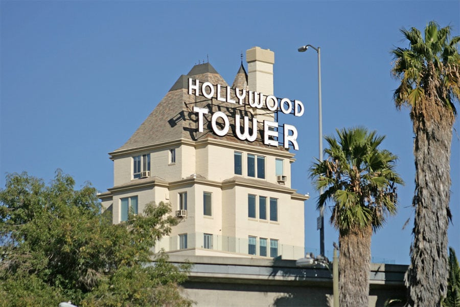 Panneau de la Hollywood Tower à Los Angeles en Californie