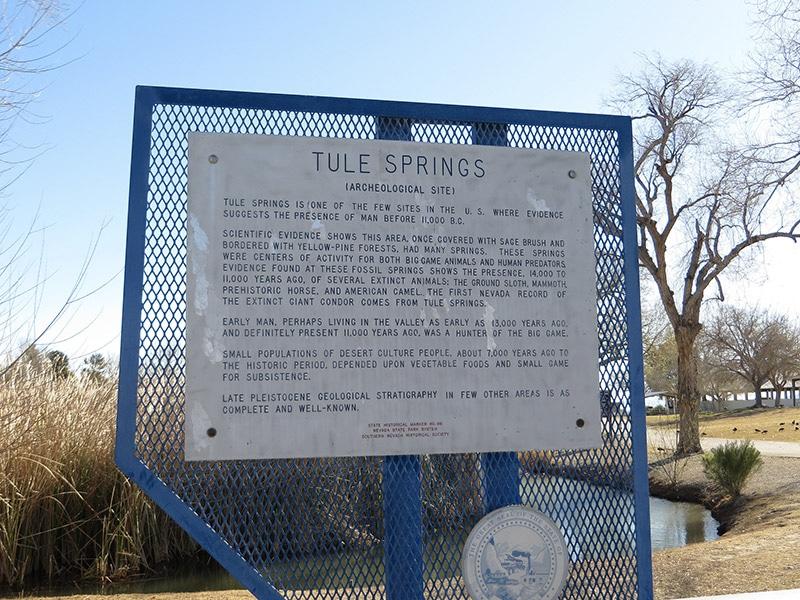 Panneau à l'entrée de Tule Springs Fossil Beds