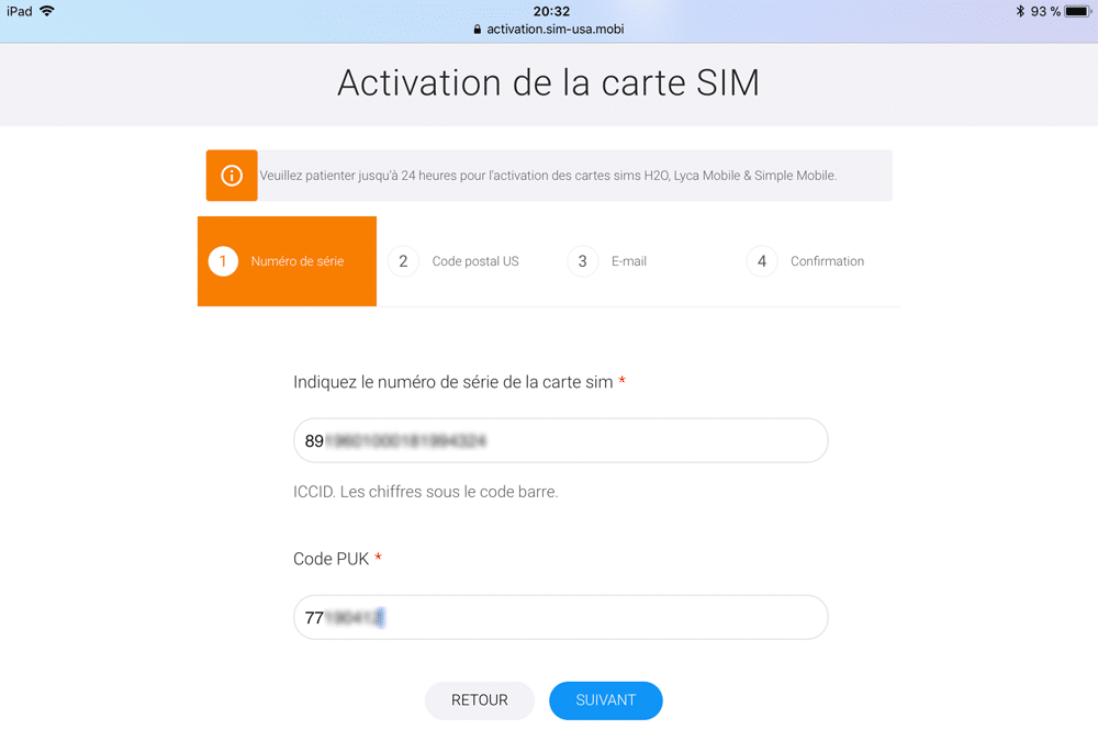 combien de temps prend l activation carte sim free