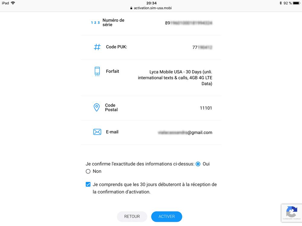 Confirmation des informations pour activer sa carte SIM