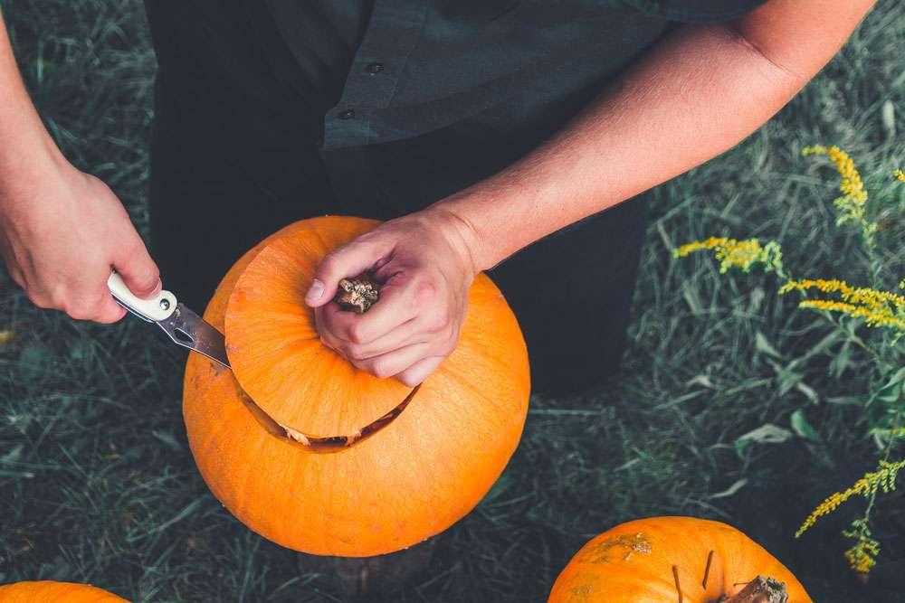 Couvercle d'une citrouille d'Halloween